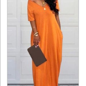Orange maxi dress (read description)